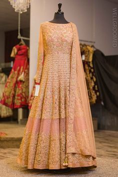 Baby Pink & Light Peach Color Embroidered Salwar Kameez of by # curomoda Designer Bridal Lehenga, Indian Bridal Lehenga, Pakistani Bridal Dresses, Indian Gowns, Designer Gowns, Indian Designer Wear, Bridal Anarkali Suits, Indian Designers, Anarkali Dress