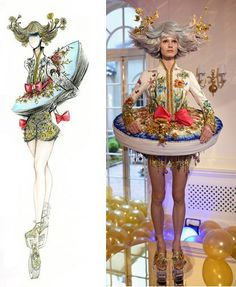 Beauty and the beast be our guest /ballroom scene-meets Alice in wonderland tea party. Vogue Fashion, Runway Fashion, Fashion Art, High Fashion, Fashion Show, Fashion Design, Guo Pei, Fairytale Fashion, Fashion Figures