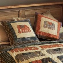 Hand Appliqued Elephant Cushion Covers (2)