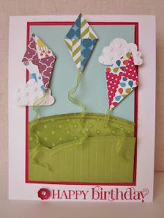 KITES! Love this card! More of the new Stampin up paper that come out in June!  Love it!