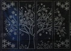 Cherry Blossom Tree 4 Panel Sashiko Design Sashiko Cherry Blossom Tree Blossom Trees
