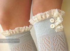 Lacey Dainty Sock  Dove Grey  openknit socks  by GraceandLaceCo, $34.00