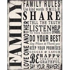 Family Rules Distressed Inspirational Typography Black & White Canvas Art by Pied Piper Creative