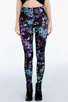 Midnight Hummingbird Leggings ($75AUD) by BlackMilk Clothing