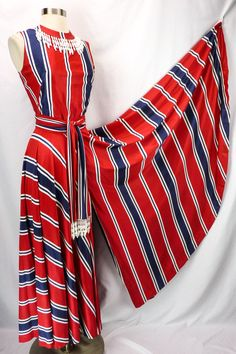 b6951ef629be Vintage 70s Patriotic Stripe Wide Leg PALAZZO Pants Jumpsuit S Red White  Blue  Handmade