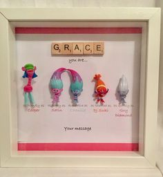 Items similar to Personalised scrabble Troll minifigure frame-Satin- Chenille- Best friend frame- BFF- daughter gift- birthday- christmas gift-Troll fan gift on Etsy Fun Easy Crafts, Diy And Crafts, Bff Gifts, Cute Gifts, Scrabble Pieces Crafts, Crafty Craft, Crafting, Senior Gifts, Cute Frames