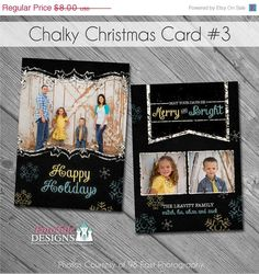 SALE Holiday - Chalky Christmas Card No. 3 - photo card templates for photographers Rustic Photography, Merry Happy, Trendy Colors, Engagement Gifts, Card Templates, Photo Cards, Gift Guide, Christmas Cards, Greeting Cards