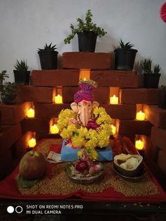 Top 65 Creative Ganpati Decoration Ideas For Home That You Should Try Gauri Decoration, Mandir Decoration, Diya Decoration Ideas, Ganapati Decoration, Flower Decoration, Decor Ideas, Eco Friendly Ganpati Decoration, Ganpati Decoration Design, Diwali Decorations At Home