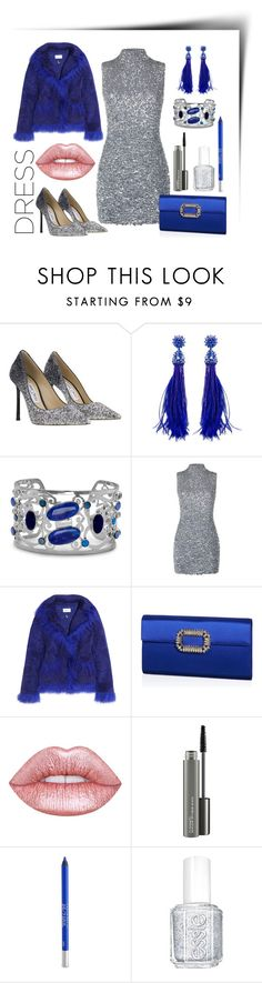 """Party dress"" by kenga08 ❤ liked on Polyvore featuring Jimmy Choo, Oscar de la Renta, BillyTheTree, Harrods, Saks Potts, Roger Vivier, Lime Crime, MAC Cosmetics, Urban Decay and Essie"