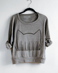 Womens Gray Cat Grass Sweatshirt screen printed on American Apparel on Etsy, $34.00