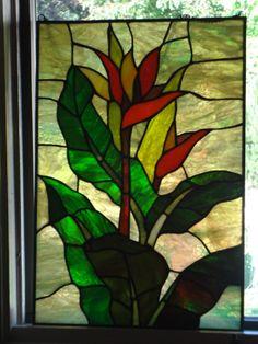 "Stained Glass Window Panel Suncatcher ""The Bird of Paradise   eBay"
