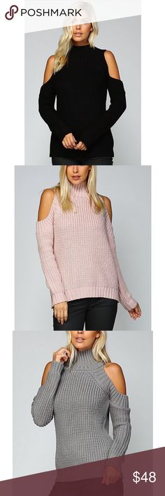 🚨🚨1 HR SALE🚨🚨DEE Textured Sweater - MUAVE Turtle Neck Cold Shoulder Sweater   AVAILABLE IN MAUVE, GREY   Fabric 100% SOFT ACRYLIC   🚨🚨NO TRADE, PRICE FIRM🚨🚨 Bellanblue Tops Tees - Long Sleeve