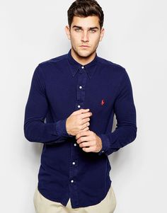 Image 1 of Polo Ralph Lauren Shirt in Slim Fit Cotton Pique In Navy