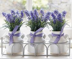 Add some French country charm to your home with this pretty trio of lavender pots. Displayed in a rustic-style iron basket with a white painted finish, the 3 ceramic