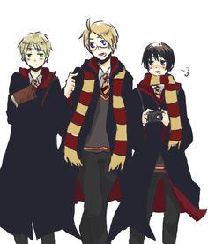 Hetalia Harry Potter Crossover-Japan, England and America :3