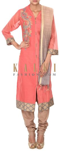 Buy this Peach unstitched suit adorn in applique embroidery only on Kalki