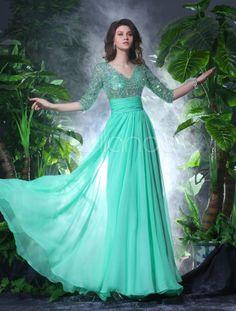 Vestido de noche de gasa de color verde de hierba con escote en V de línea A - Milanoo.com