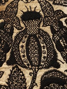 perfectthewayyouarerightnow:  Linen with black silk embroidery c1580