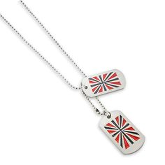 American Flag Men`S Pendant With Chain Set