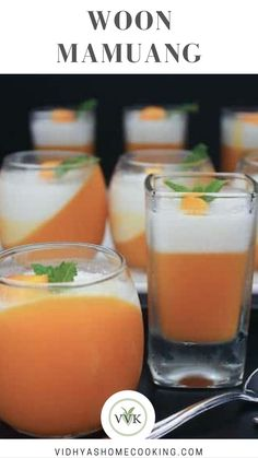 Mango Coconut Jello or Panna Cotta or Woon Moongwang (in Thai). This delicacy is prepared with Mango puree and coconut milk and of course with sugar and the jello is set using agar agar powder making it perfect for all vegetarians and vegans. This week's BM theme is No Bake Dessert.