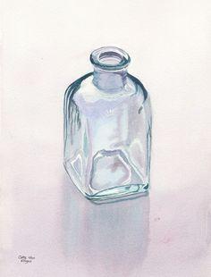 Teal Bottle ist eine Qualität Giclée Reproduktion einer original Aquarell von Glasflaschen von Cathy Hillegas. Aquarell ist das perfekte Medium für Gemälde Glas, wie der Lack transparent ist und durch jede Schicht, die anderen Schichten und das Weißbuch unter man kann. Farben sind blaugrün, grün, lila und blau.  Bildgröße beträgt 10,8 x 14,2 , Papierformat ist 13 x 19. Es ist nahe genug, um ein 11 x 14 eine Standardgröße Matte passt (Öffnungen sind in der Regel 10,5 x 13,5). Mit…