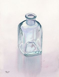 Glass Bottle Art Watercolor Painting Print by Cathy Hillegas, watercolor still life, 11x14, watercolor print, realism art, teal purple green