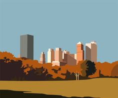 Central Park, City Skyline Art, Drawing Sketches, Drawings, Ai Illustrator, City Illustration, Park City, Cartoon Styles, Storyboard
