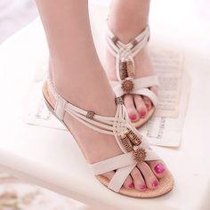 Wish | Summer Women Rome Slingback Wedge Sandals Beach Shoes Beige/Black