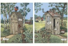 outhouse art prints - great for the bathroom especially if you already have your own primitive frame for them.