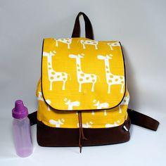 2fa153f3b77 Giraffe Diaper Backpack - Diaper Bag - Yellow - Rucksack - Mommy Bag -  Waterproof Lining - PUL - Cotton Canvas