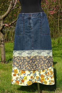 Yellow Lace & Flowers Shabby Chic Midi Denim Skirt  by UpTickChic, $32.00