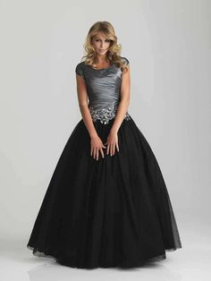 Most viewed dress on our web site today (1/14) ... so far ... is Night Moves Modest Prom 6808M