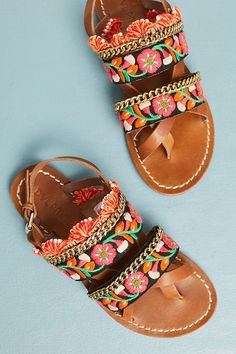 Slide View: 1: Dvlpmn+ Meadow Embroidered Sandals