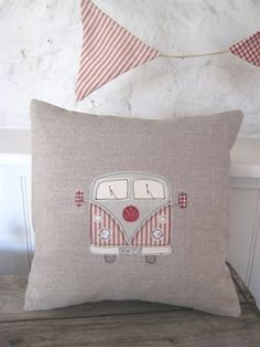 Ticketty Boo. Linen applique campervan cushion by Ticketty Boo