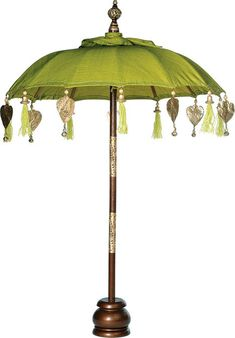 Chartreuse Green Balinese Festival Parasol  I thought this was a lamp at first and loved the idea. Lol ~sch
