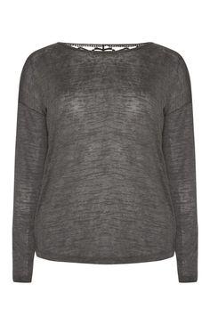 Grey Crochet Back Top
