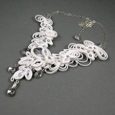 Soutache bridal necklace swarovski wedding fancy by byPiLLowDesign, zł816.00