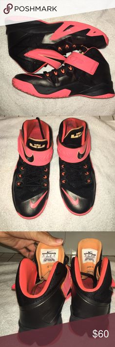 These are Nike Lebron James basketball sneakers. Pink and black, great for girls basketball, but boys can wear them too. Great condition, haven't worn them that much. Still have good grip and great for any basketball season. They last a long time because of their material. Nike Shoes Athletic Shoes