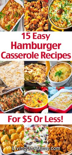 Here are 15 quick and easy hamburger casserole recipes to make dinner a snap! You'll find lots of variations on traditional hamburger casserole that the entire family will love and you'll be in and out of the kitchen fast! Easy Hamburger Casserole, Hamburger Meat Recipes Easy, Hamburger And Potatoes, Meatloaf Recipes, Hamburger Dinner Ideas, Hamburger Dishes, Noodle Casserole, Beef Dishes, Beef Recipes