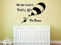 Dr Seuss Wall Decal Quote Vinyl Sticker Decals Quotes Oh The Places Youll Go Wall Decal Quote Wall Decor Nursery Bedroom Baby Room ZX236