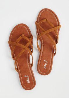 image of Cognac Strappy Flip Flops