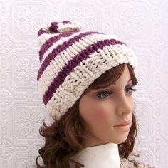 Hand knit hat  cream & mulberry  handmade ❤ by SandyCoastalDesigns, $40.00