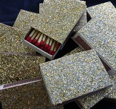 Sold on Etsy, but I'm thinking more like DIY...glitter spray paint! Cheap match boxes