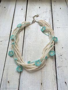 Strand Pearls and Mint Crochet Flowers Necklace by ReddApple Crochet Beaded Necklace, Crochet Jewellery, Macrame Jewelry, Jewelry Necklaces, Bridal Accessories, Bridal Jewelry, Crochet Baskets, Beaded Collar, Handmade Jewelry