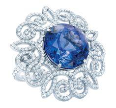 Tiffany Anniversary Platinum Tanzanite and Diamond Ring Tanzanite Jewelry, Tanzanite Ring, Anniversary Jewelry, Gold Diamond Rings, Ruby Rings, Tiffany Jewelry, Gemstone Colors, Colored Diamonds, Blue Diamonds