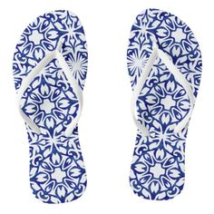 "Blue and White Spanish Mediterranean Pattern Flip Flops  Take a trip to the coast of Spain with our Mediterranean inspired flip flops. Design features a classic royal blue and white Spanish tile pattern with a fresh, summery watercolor twist.  Pattern can be scaled up or down; click ""Customize It,"" select the tile image, and use the + or - buttons to adjust the size. Make sure to do this for both feet!  Need another color or pattern? Or help adding a monogram? Let's work together! Contact"