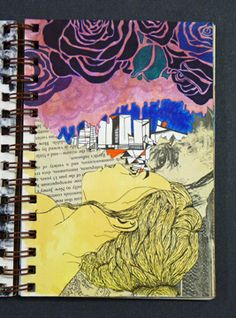 Lia - This visual journal does not have the reflective writing, but I saw and felt what the designer wanted to say through this paper. There is one girl who is lying and staring somewhere, and the imagination is spread from the girl's eye.