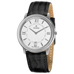 Men's Silver Dial Black Leather - Grovana Watch
