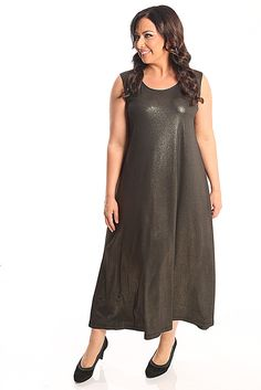 Vikki Vi Jersey Star Dust Long A-Line Shell Dress A great plus size piece for your holiday party.