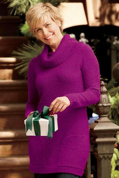 """""""Shop TravelSmith for our Boucle Tunic Sweater . Christmas Open House, Tunic Sweater, Covet Fashion, Turtle Neck, Hair Ideas, Sweaters, Fantasy, Clothes, Shopping"""